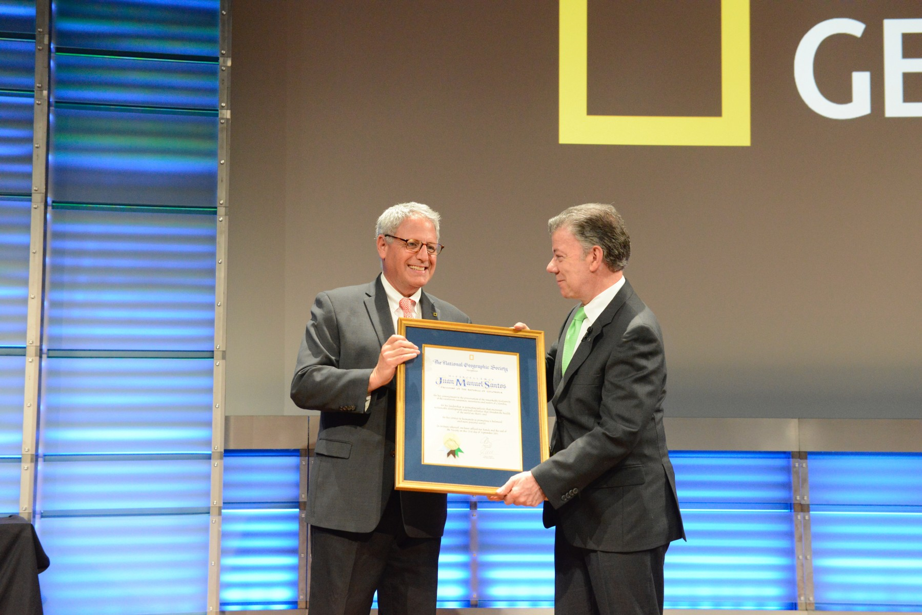 National Geographic Society Honors President Juan Manuel Santos of Colombia for his Commitment to Conservation