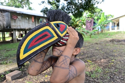 The Embera people inhabit remote villages in the Panamanian-Colombian rainforests. Shamans use traditional masks in healing rituals and before hunts to ensure good luck. The masks are made from two types of palm, using both sewing and knotting techniques. Each mask is one-of-a-kind. Sambu District, Darien Region. Photo © Kike Calvo